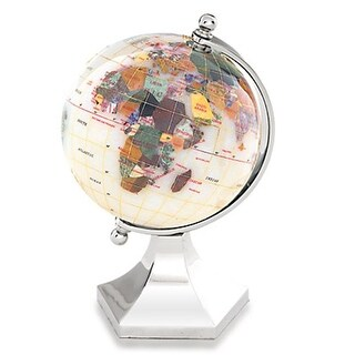 4 in. Gemstone Globe with Bright Silver Contempo Stand - Opal