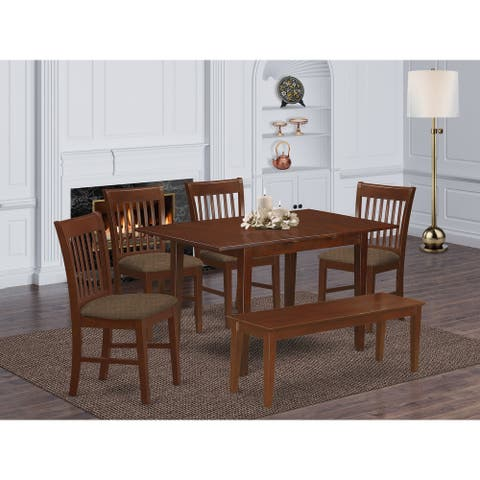 6-piece Dining Set - Dining Table and 4 Chairs and Dining Bench
