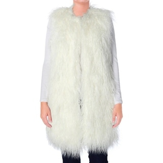 French Connection Womens Casual Vest Faux Fur Open/No Collar