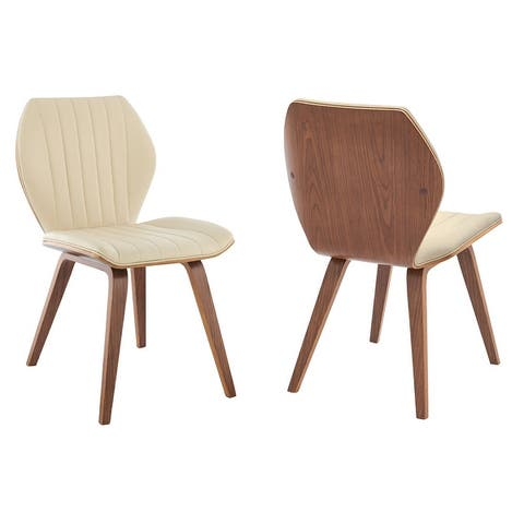 Ontario Faux Leather and Wood Dining Chairs - Set of 2