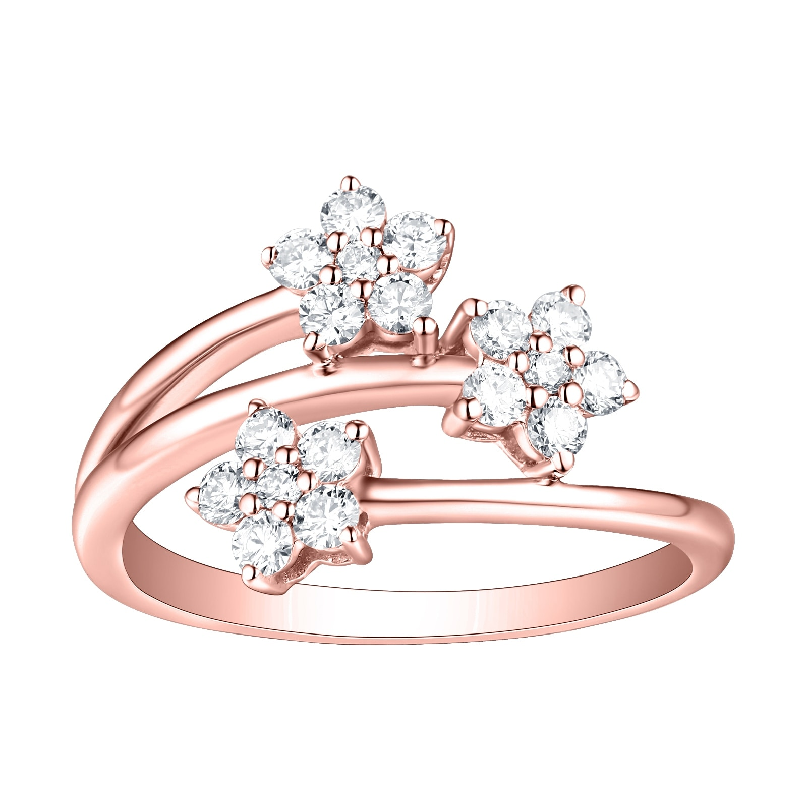 10k Gold Prism Jewel Natural G-H//I1 Round Diamond Delicate Crisscross Ring