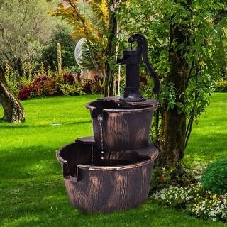 Gymax 3 Tier Barrel Waterfall Fountain Barrel Water Fountain Pump Outdoor Garden