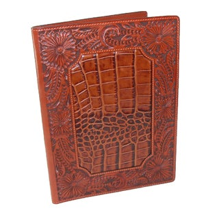 3 D Belt Company Leather Floral Hand-Tooled Padfolio with Gator Print Finish