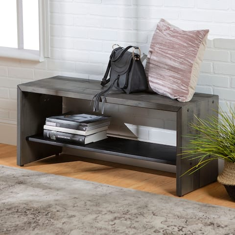 42-inch Reclaimed Entry Bench with Lower Shelf