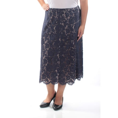ANNE KLEIN Womens Navy Lace Floral Midi Pencil Skirt Size: 16