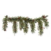 """6.5' x 35"""" Red Berry and Ball Ornament Mixed Pine Artificial Christmas Garland - Unlit - green"""