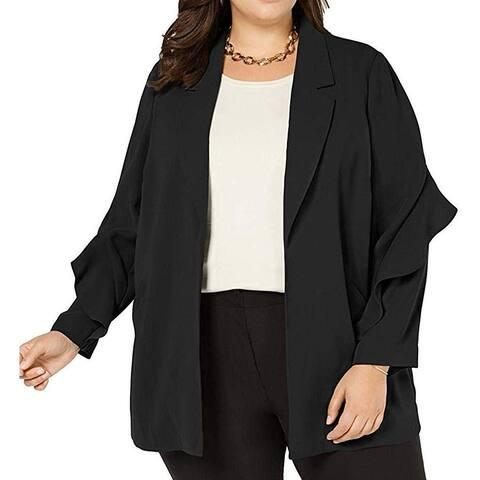 Alfani Women's Jacket Deep Black Size 1X Plus Open-Front Ruffled