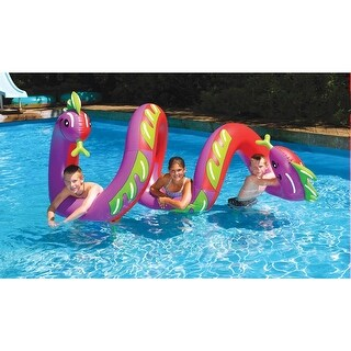 "Two-Headed Curly Sea Serpent - Large Pool Inflatable - 70"" x 44"" x 38"" - Multi"