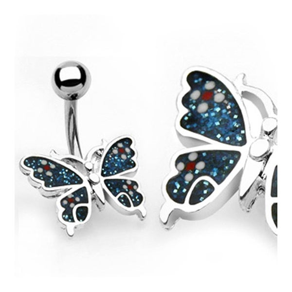 """Navel Belly Button Ring Blue Butterfly with Banana - 14GA 3/8"""" Long"""