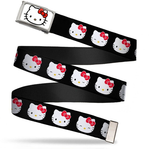 Hello Kitty Face Fcg White Chrome Frame Hello Kitty Expressions Black Web Belt