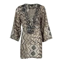 Raviya Women's Beaded V-Neck Printed Tunic Swim Cover