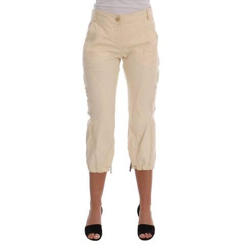 Ermanno Scervino Beige Cotton Lace Applique Capri Pants
