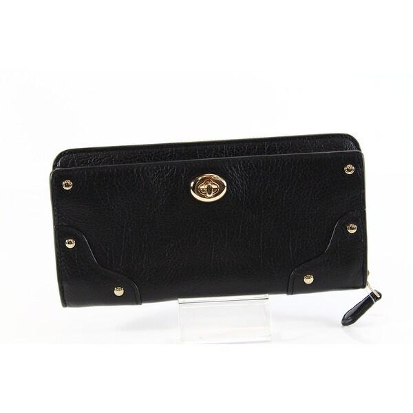 Coach NEW Mercer Black Gold Clutch Pebble Leather Zip-Around Wallet