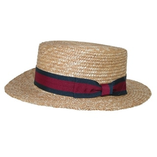 CTM® Straw 2.5 Inch Brim Boater Hat with Navy Band - Natural