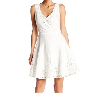 Joie White Ivory Womens Size 12 V-Neck Fit N Flare Sheath Dress