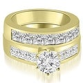 3.15 cttw. 14K Yellow Gold Channel Set Princess Cut Diamond Bridal Set - Thumbnail 0