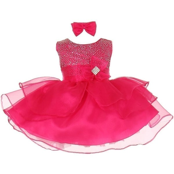 685524336 Shop Baby Girls Fuchsia Rhinestuds Bow Sash Flower Girl Headband ...