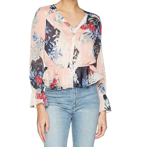 Guess Women's Blouse Pink Size Large L Floral Print Sheer Ruffle