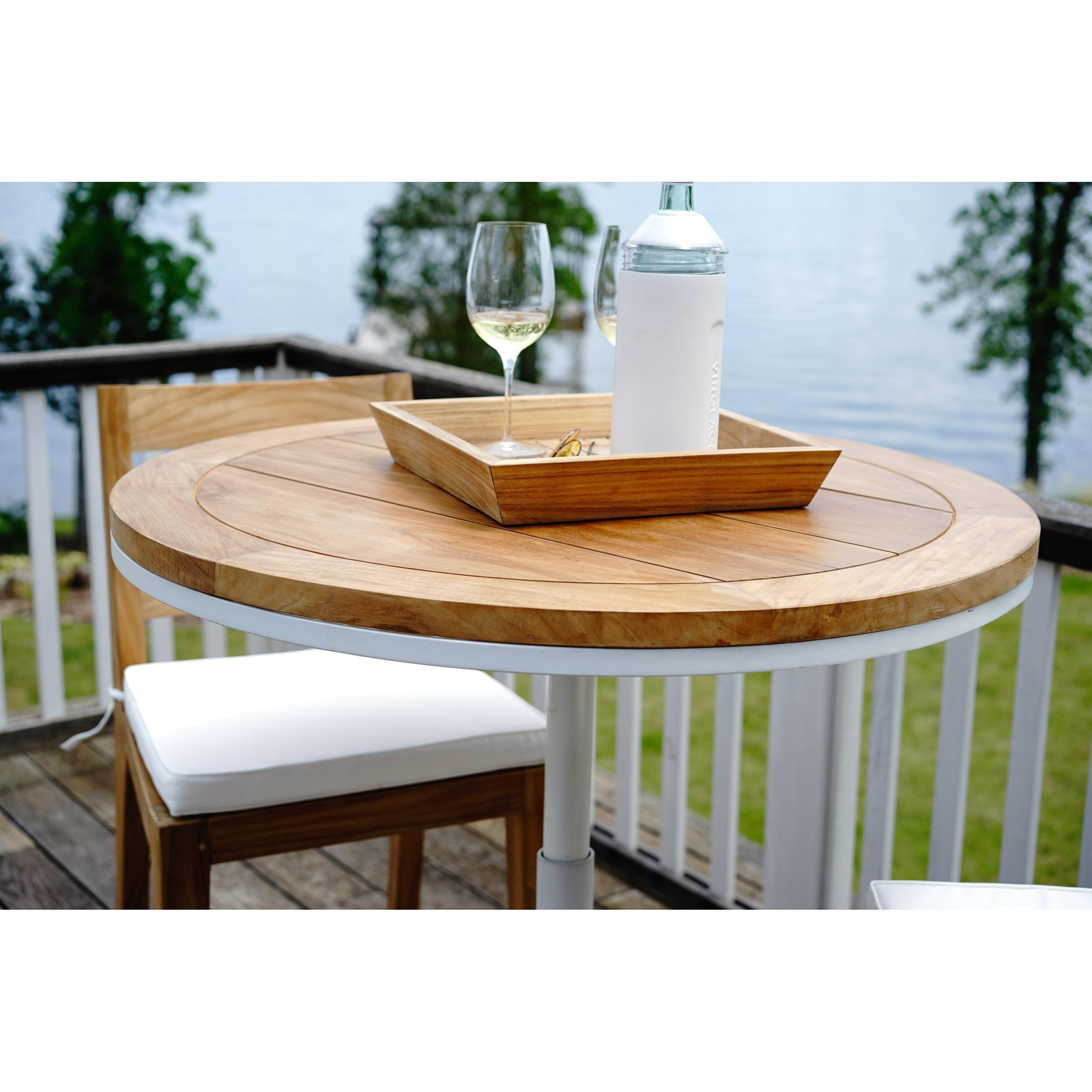 Palmilla Teak Outdoor Convertible Bar And Bistro Table Overstock 31418323