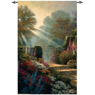 """Vibrant Garden of Grace with Path Cotton Wall Art Hanging Tapestry 53"""" x 35"""""""