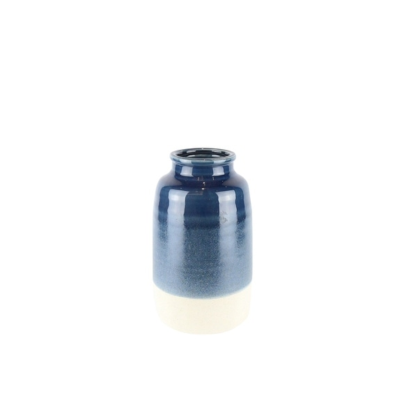 Dual Tone Ceramic Vase with Round Opening, Blue and White