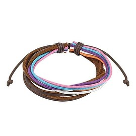 Brown Leather and Multi Colored Strands Bracelet with Drawstrings (10 mm) - 7.5 in