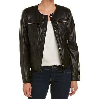 Cole Haan Black Women's Size Large L Full Zip Motorcycle Jacket