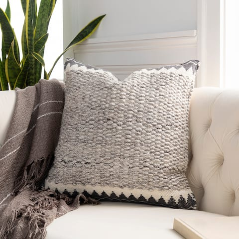 The Curated Nomad Taber Heathered Wool 22-inch Throw Pillow with Down or Poly Fill