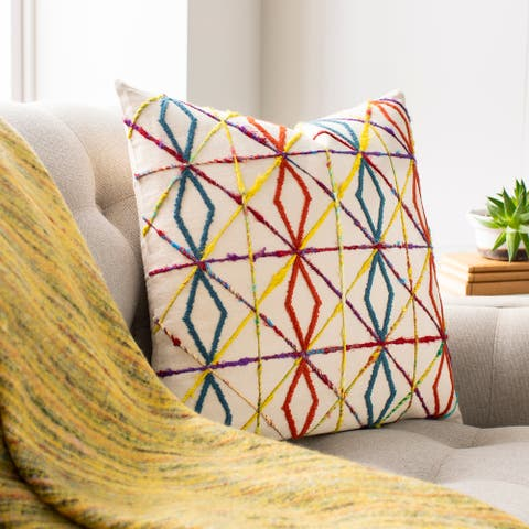 Carlile Embroidered Boho Throw Pillow