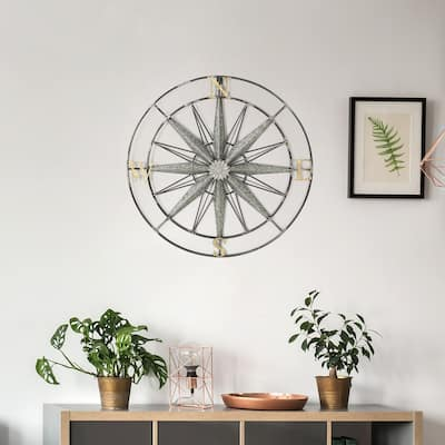 ADECO Compass Decor Metal Wall Hanging Art For Nature Home Gift