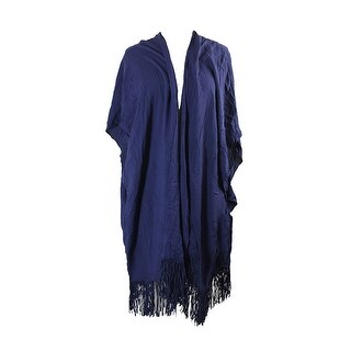 Vince Camuto Navy Fringed Caftan Cover Up OS