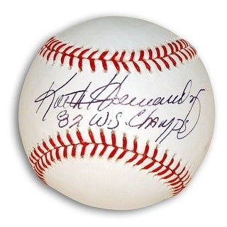 "Autographed Keith Hernandez MLB Baseball Inscribed ""82 WS Champs"""