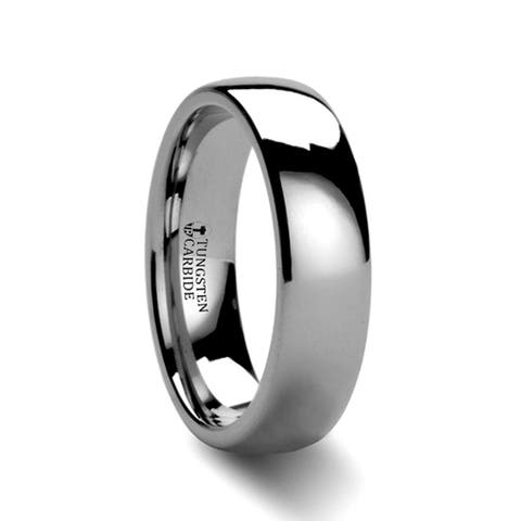 Thorsten Dominus Tungsten Rings for Men Carbide Comfort Fit Domed Tungsten Carbide Wedding Ring Band - 6mm