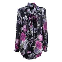 Tahari ASL Women's Plus Size Tie-Neck Blouse (1X, Black/Pink/Purple) - Black/Pink/Purple - 1X