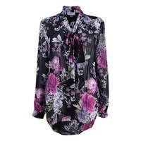 Tahari ASL Women's Plus Size Tie-Neck Blouse (2X, Black/Pink/Purple) - Black/Pink/Purple - 2X