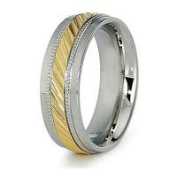 7.5mm Stainless Steel Men's Ring with Gold Plated Center (Sizes 8-12)