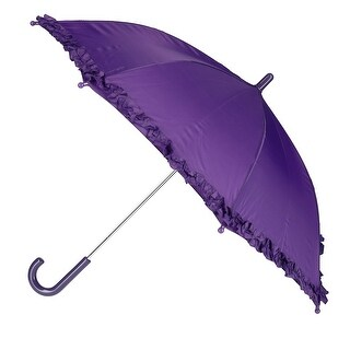 CTM® Kid's Solid Color Stick Umbrella with Ruffle - One size (Option: Purple)