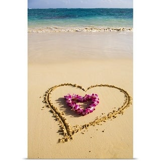Poster Print entitled Picture of a heart drawn in the sand, orchid lei shaped like a heart inside of drawing