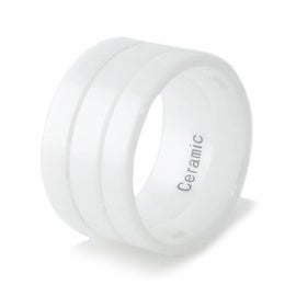 12mm White Ceramic Ring w/ Dual Groove Strip