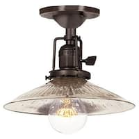 """JVI Designs 1202-08-S1-SR Union Square 1 Light Semi-Flush 7.25"""" Tall Ceiling Fixture with Antique Mercury Ribbed Mouth-Blown"""