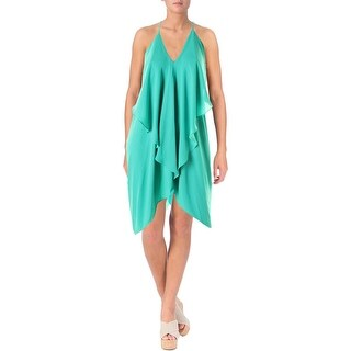 Olivaceous Womens Ruffled Sleeveless Cocktail Dress