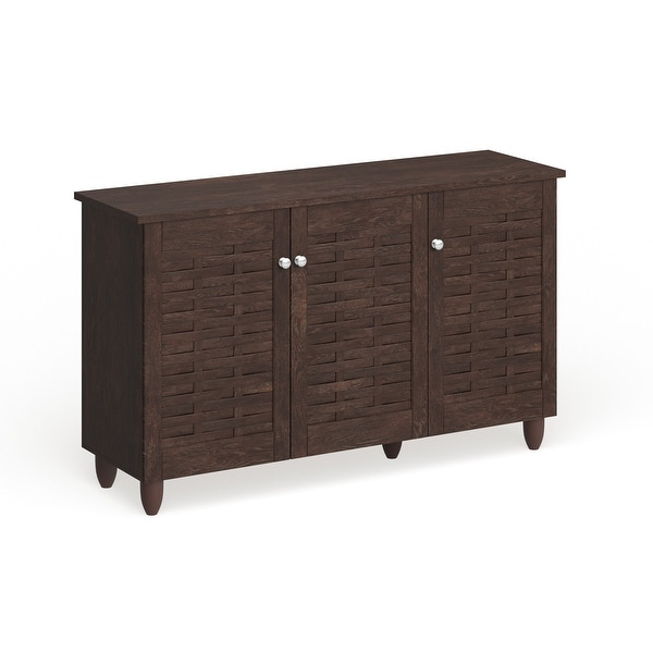 Strick & Bolton Vadym Dark Brown 3-door Shoe Cabinet