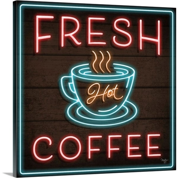 """Neon Fresh Coffee"" Canvas Wall Art"