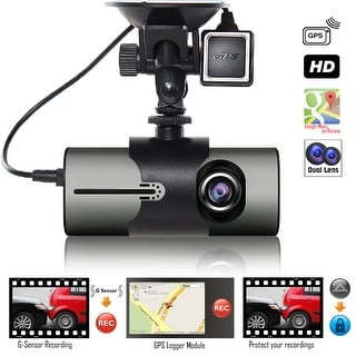 "Indigi® NEW XR300 Car DVR Dual Camera DashCam (Front+Rear) Driving Recorder with 2.7"" Split Screen LCD w/ GPS Tracker + G-Sensor"