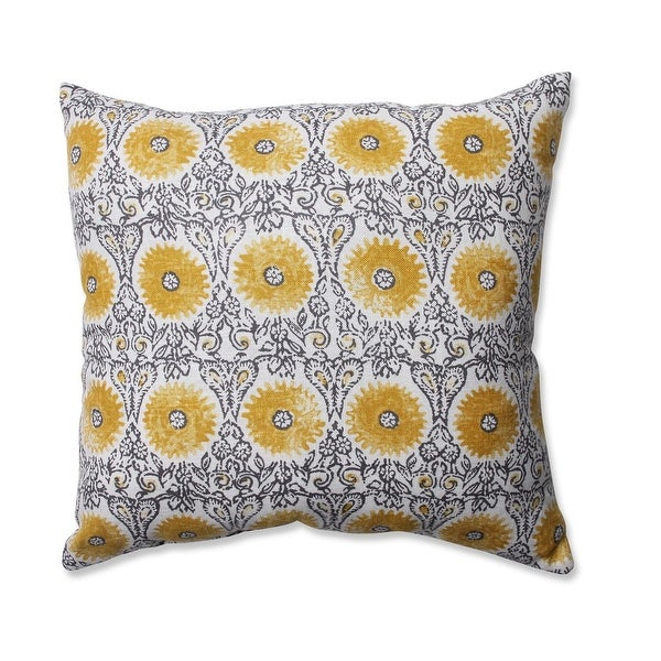 "16.5"" Riya Yellow Floral Decorative Throw Pillow"