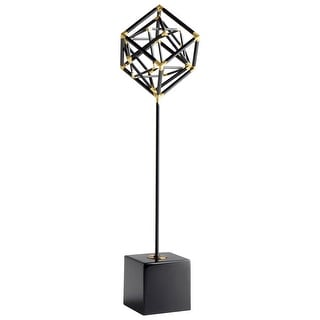 Cyan Design 09097  All The Right Angles Iron and Wood Abstract Statue - Black