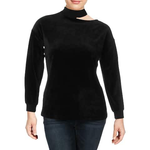 Vince Camuto Womens Plus Sweatshirt Velour Cold Shoulder