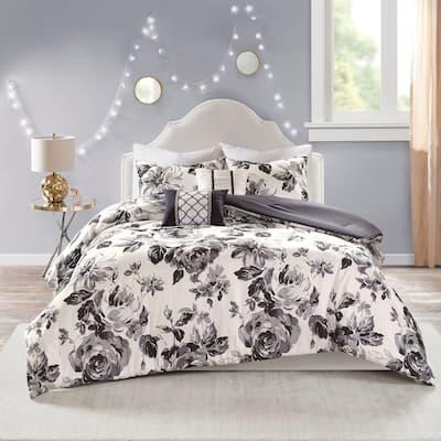 Renee Black/ White Floral Print Comforter Set by Intelligent Design