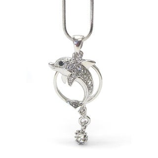 Whitegold Plating Crystal Swimming Dolphin Pendant Necklace