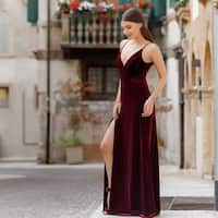 Ever-Pretty Women's V-Neck Velvet Long Evening Prom Party Dress 07181